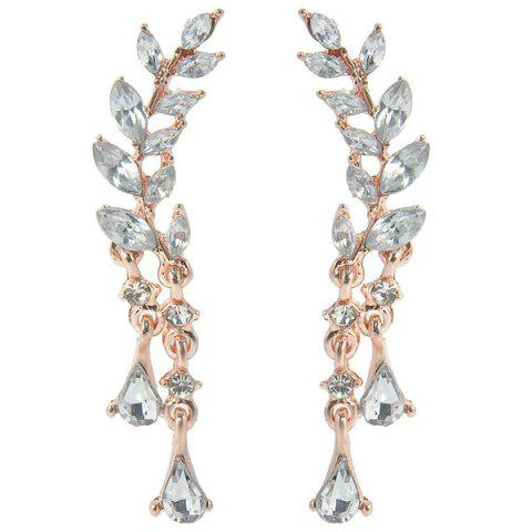 Affordable Rhinestone Tree Leaf Teardrop Earrings GOLDEN