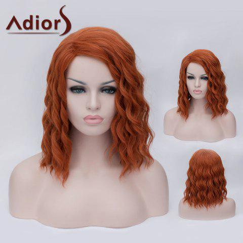 Unique Adiors Medium Side Parting Fluffy Wavy Party Cosplay Synthetic Wig - ORANGE YELLOW  Mobile