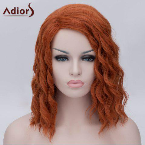 Fashion Adiors Medium Side Parting Fluffy Wavy Party Cosplay Synthetic Wig - ORANGE YELLOW  Mobile