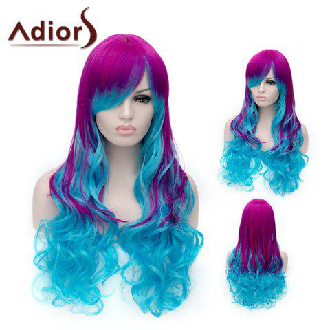 Fashion Adiors Long Inclined Bang Shaggy Wavy Colormix Party Synthetic Wig - COLORMIX  Mobile