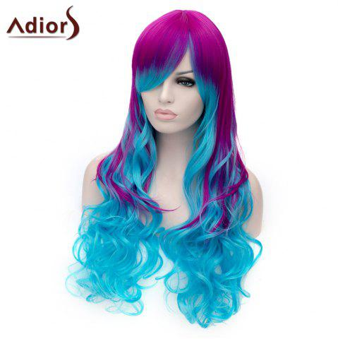 Sale Adiors Long Inclined Bang Shaggy Wavy Colormix Party Synthetic Wig - COLORMIX  Mobile