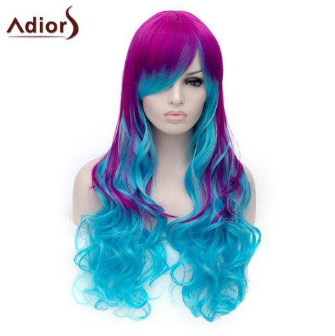 Cheap Adiors Long Inclined Bang Shaggy Wavy Colormix Party Synthetic Wig - COLORMIX  Mobile