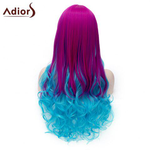 New Adiors Long Inclined Bang Shaggy Wavy Colormix Party Synthetic Wig - COLORMIX  Mobile