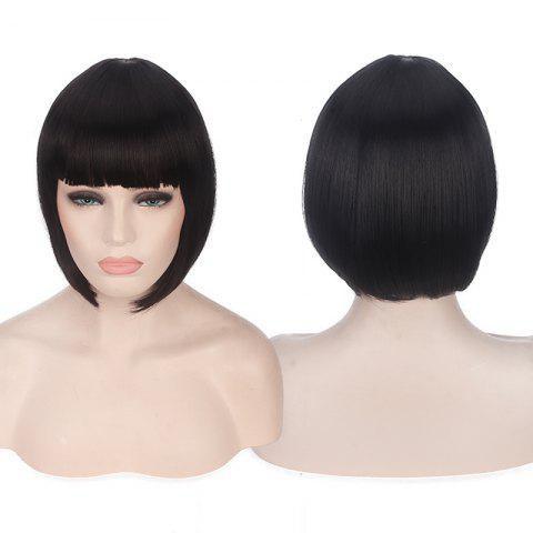 Unique Candy Color Short Neat Bang Straight Synthetic Cosplay Wig - BLACK  Mobile
