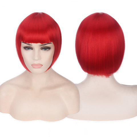 Fashion Candy Color Short Neat Bang Straight Synthetic Cosplay Wig RED