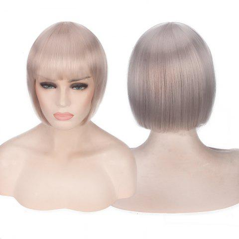 Trendy Candy Color Short Neat Bang Straight Synthetic Cosplay Wig - PALE PINKISH GREY  Mobile