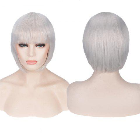 Hot Candy Color Short Neat Bang Straight Synthetic Cosplay Wig SILVER WHITE
