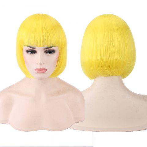 Fancy Candy Color Short Neat Bang Straight Synthetic Cosplay Wig YELLOW