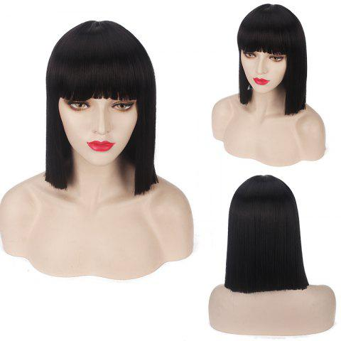 Discount Candy Color Medium Neat Bang Straight Synthetic Cosplay Wig - BLACK  Mobile