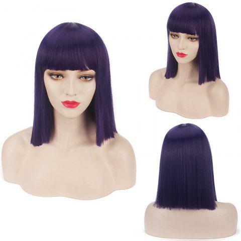 Buy Candy Color Medium Neat Bang Straight Synthetic Cosplay Wig - Purple
