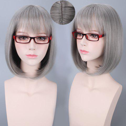 Sale Short Neat Bang Bob Straight Harajuku Synthetic Cosplay Wig SILVER GRAY