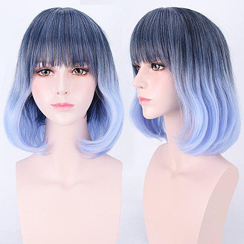 Hot Short Neat Bang Colormix Straight Harajuku Synthetic Cosplay Wig COLORMIX