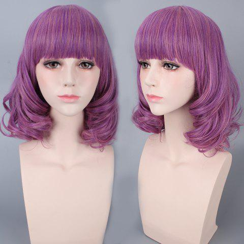 Outfit Medium Neat Bang Culrly Harajuku Synthetic Cosplay Wig - VIOLET  Mobile