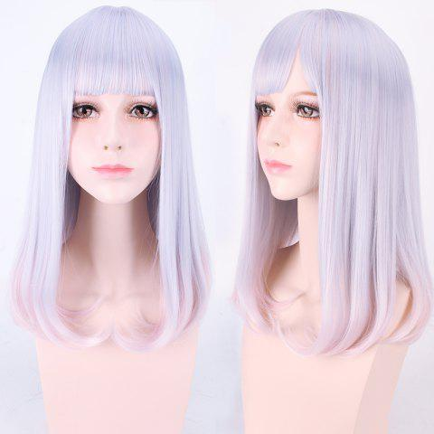 Chic Harajuku Medium Neat Bang Straight Synthetic Cosplay Wig - CRYSTAL CREAM  Mobile