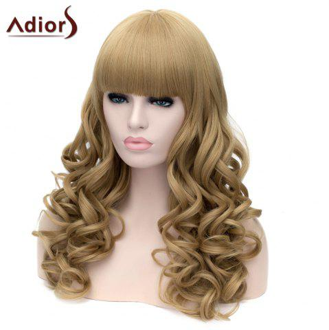Unique Adiors Long Neat Bang Fluffy Wavy Party Synthetic Wig - FLAX  Mobile