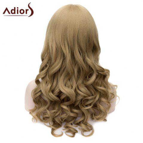 Fashion Adiors Long Neat Bang Fluffy Wavy Party Synthetic Wig - FLAX  Mobile