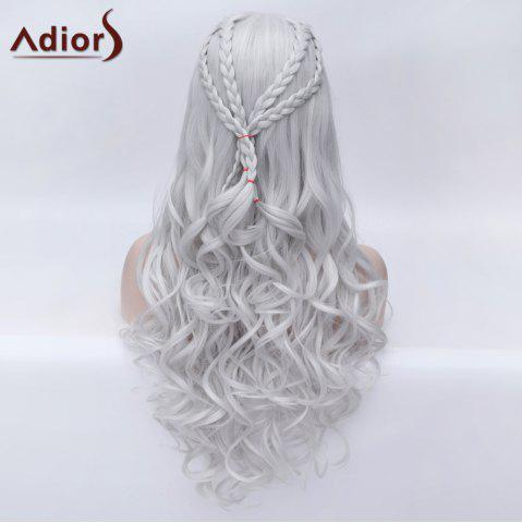 Unique Adiors Braided Long Fluffy Wavy Party Synthetic Wig - SILVER WHITE  Mobile