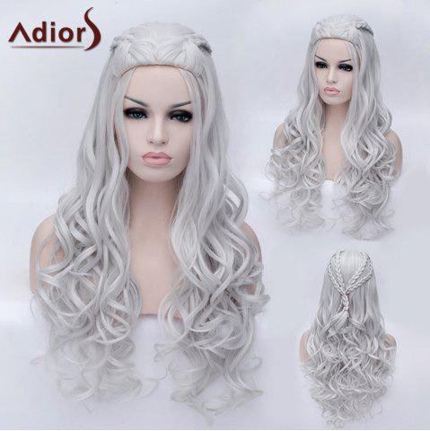 Online Adiors Braided Long Fluffy Wavy Party Synthetic Wig SILVER WHITE