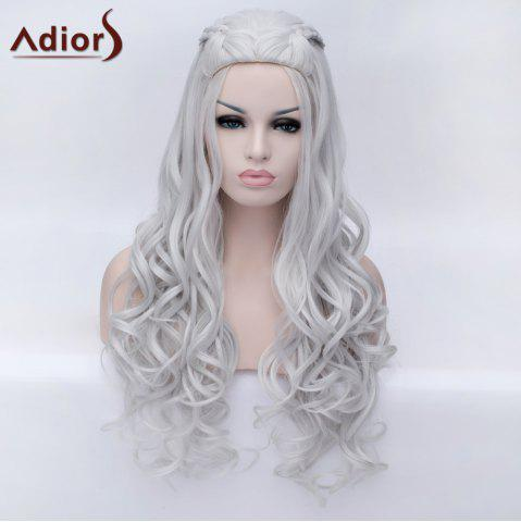 Trendy Adiors Braided Long Fluffy Wavy Party Synthetic Wig - SILVER WHITE  Mobile