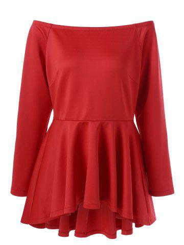 Affordable Plus Size Asymmetric Peplum Top RED 3XL
