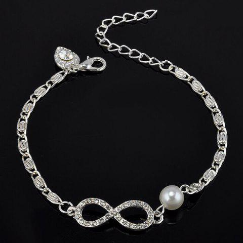 Buy Rhinestone Fake Pearl Infinity Heart Bracelet - WHITE  Mobile