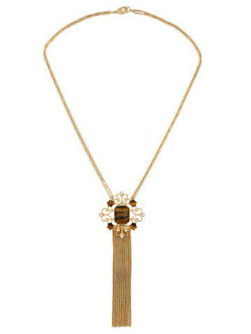 Online Artificial Gem Fringed Sweater Chain - GOLDEN  Mobile
