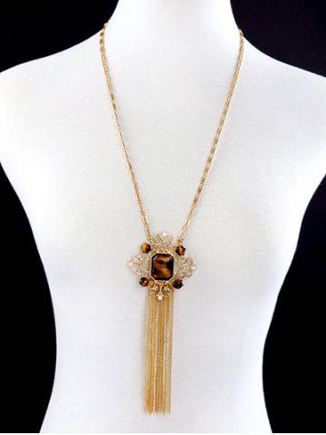 Latest Artificial Gem Fringed Sweater Chain - GOLDEN  Mobile