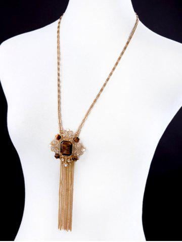 Outfits Artificial Gem Fringed Sweater Chain - GOLDEN  Mobile