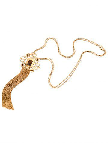 Fashion Artificial Gem Fringed Sweater Chain - GOLDEN  Mobile
