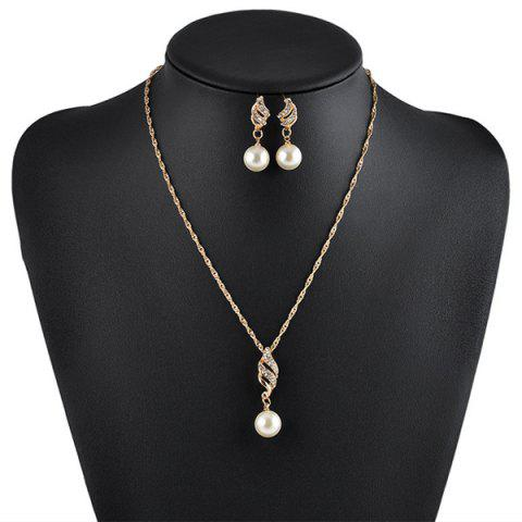 Artificial Pearl Rhinestone Necklace with Earrings - Golden