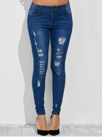 Affordable High Waist Distressed Jeans DEEP BLUE L