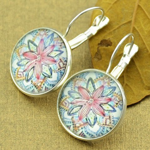 Clip on Earrings with Mandala Flower Pattern Round Pendant - Silver