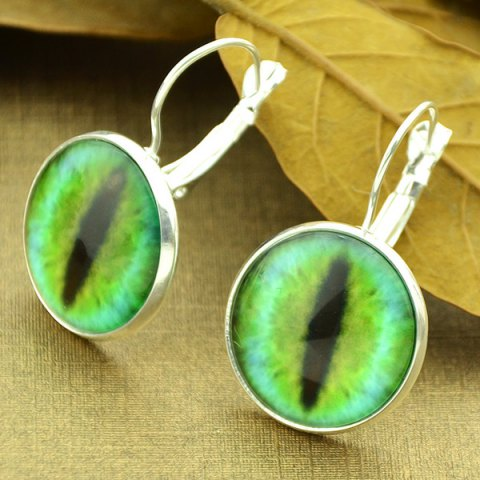 Clip on Earrings with Cat Eye Pattern Round Pendant - Silver