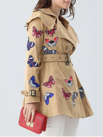 Store Butterfly Embroidered Double-Breasted Skirted Trench Coat - XL KHAKI Mobile