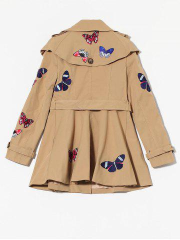 Cheap Butterfly Embroidered Double-Breasted Skirted Trench Coat - XL KHAKI Mobile