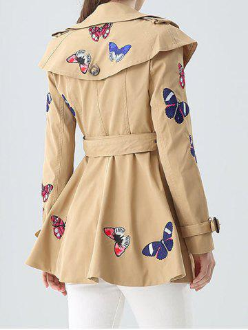 Unique Butterfly Embroidered Double-Breasted Skirted Trench Coat - XL KHAKI Mobile