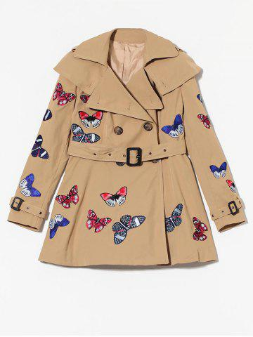 Cheap Butterfly Embroidered Double-Breasted Skirted Trench Coat - L KHAKI Mobile