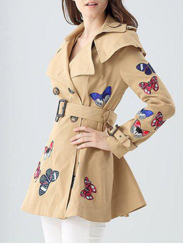 Unique Butterfly Embroidered Double-Breasted Skirted Trench Coat - L KHAKI Mobile