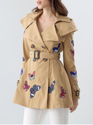 Butterfly Embroidered Double-Breasted Skirted Trench Coat - Khaki - M