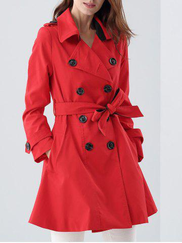 Outfit Double Breasted Skirted Tie Belt Trench Coat