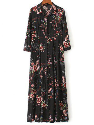 Store Floral Print Maxi Shirt Dress BLACK S