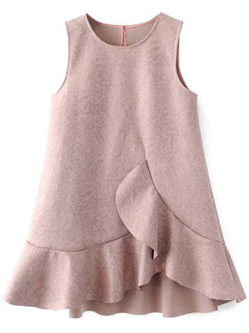 Ruffle Suede Réservoir A Dress Ligne Pale Rose Gris L