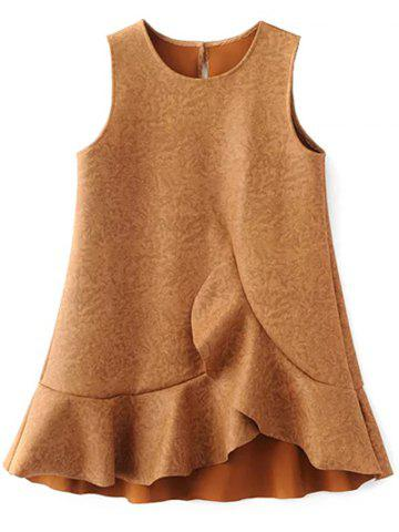 Ruffle Suede Tank A Line Dress - Gold Brown - M