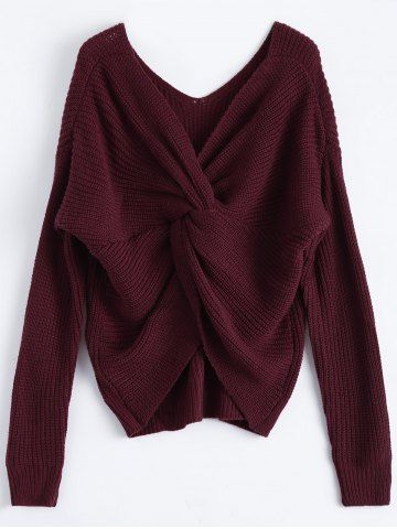 Affordable V Neck Twisted Back Sweater BURGUNDY ONE SIZE
