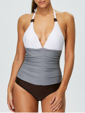 Color Block Halter Shaping One Piece Swimwear