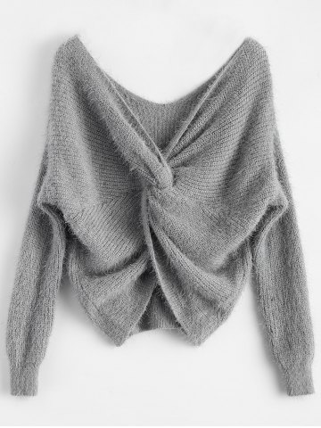 Fashion Twisted Back Chenille Sweater GRAY ONE SIZE