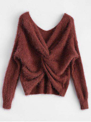Buy Twisted Back Chenille Sweater CLARET ONE SIZE