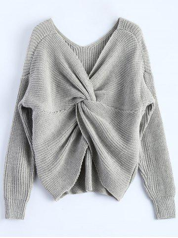Trendy V Neck Twisted Back Sweater