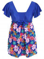 Refreshing Square Collar Floral Print Short Sleeve Swimsuit For Women - SAPPHIRE BLUE 5XL