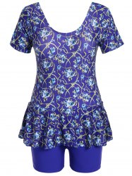Graceful Scoop Neck Short Sleeve Floral Print Flounced Swimsuit For Women